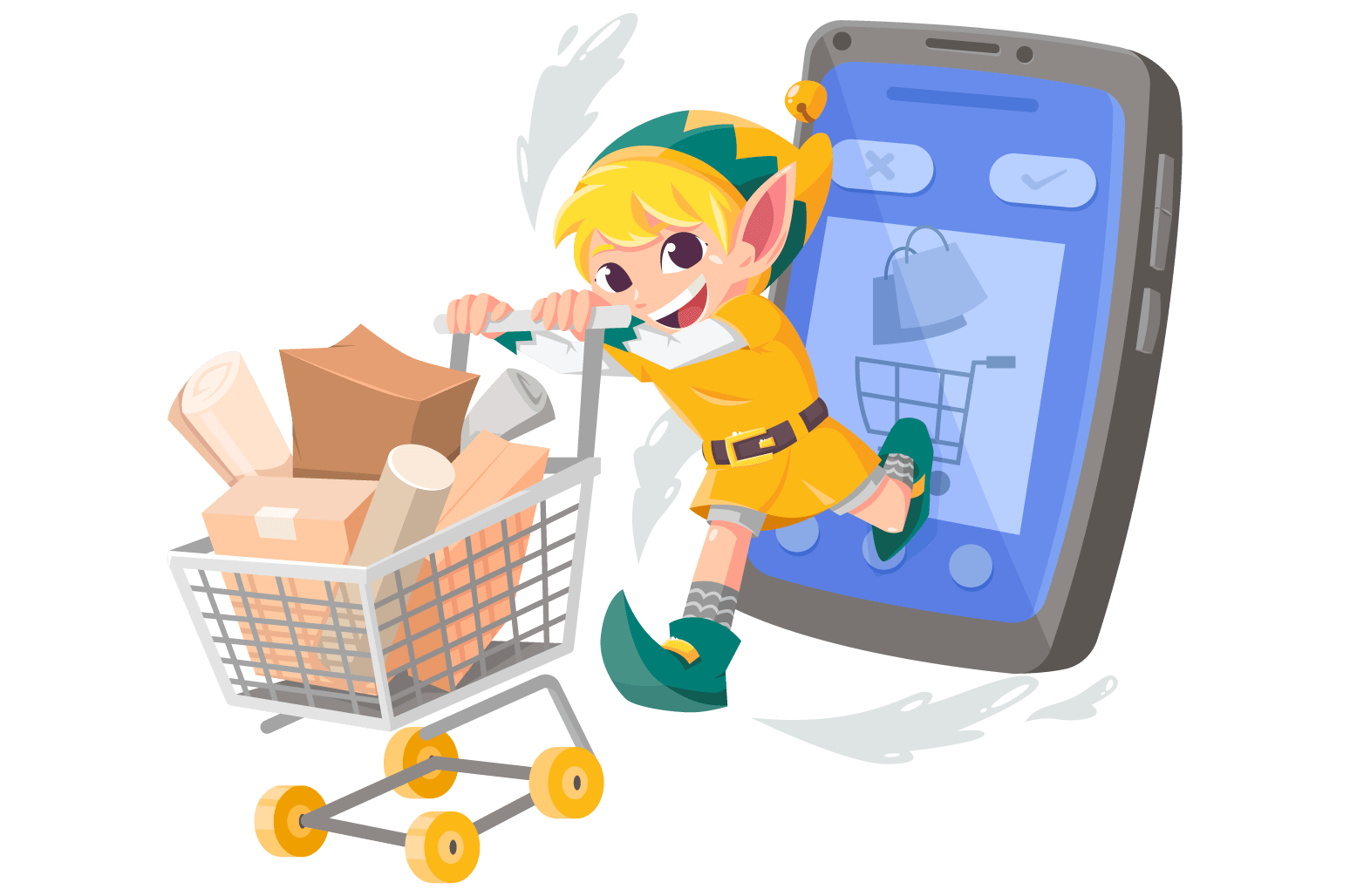Illustration of an elf pushing a shopping cart
