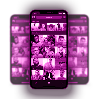 a pacific blue iphone 12 pro with a grindr app screenshot
