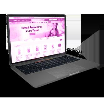 a 16 inch macbook pro with an iherb website screenshot