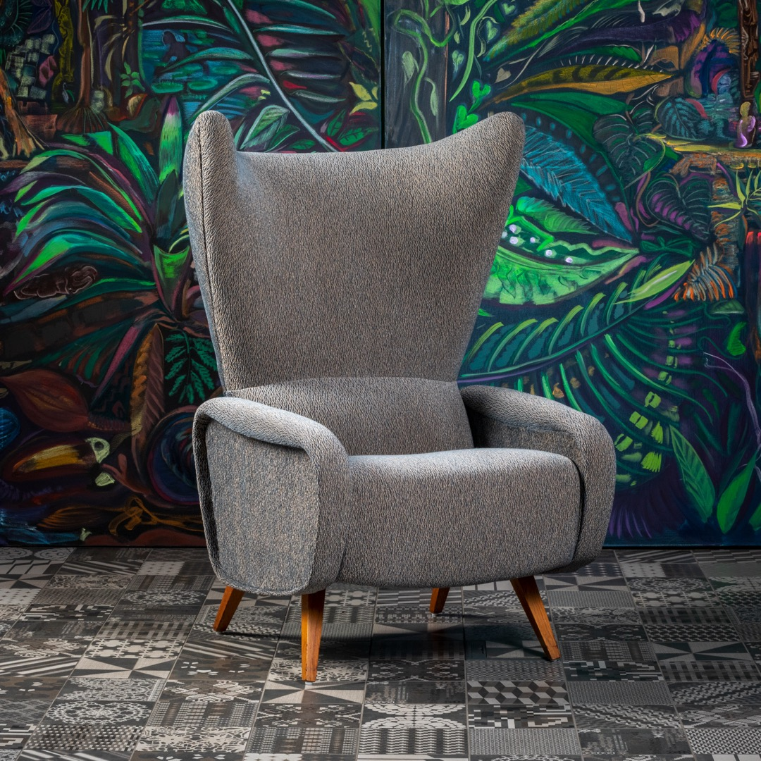 These armchairs are inspired by the Italian design of Marco Zanuso from the 50s. In the 1960s, this shape variant was created in Czechoslovakia with clear references to the original design. The armchairs are very comfortable and their line does not create the feeling of a large mass of material. This pair is original and newly upholstered. We can make replicas to order in any upholstery fabric. Pickling and material of wooden feet are optional. The armchairs are upholstered in Romo fabrics. It is possible to buy one piece from a restored pair of chairs.