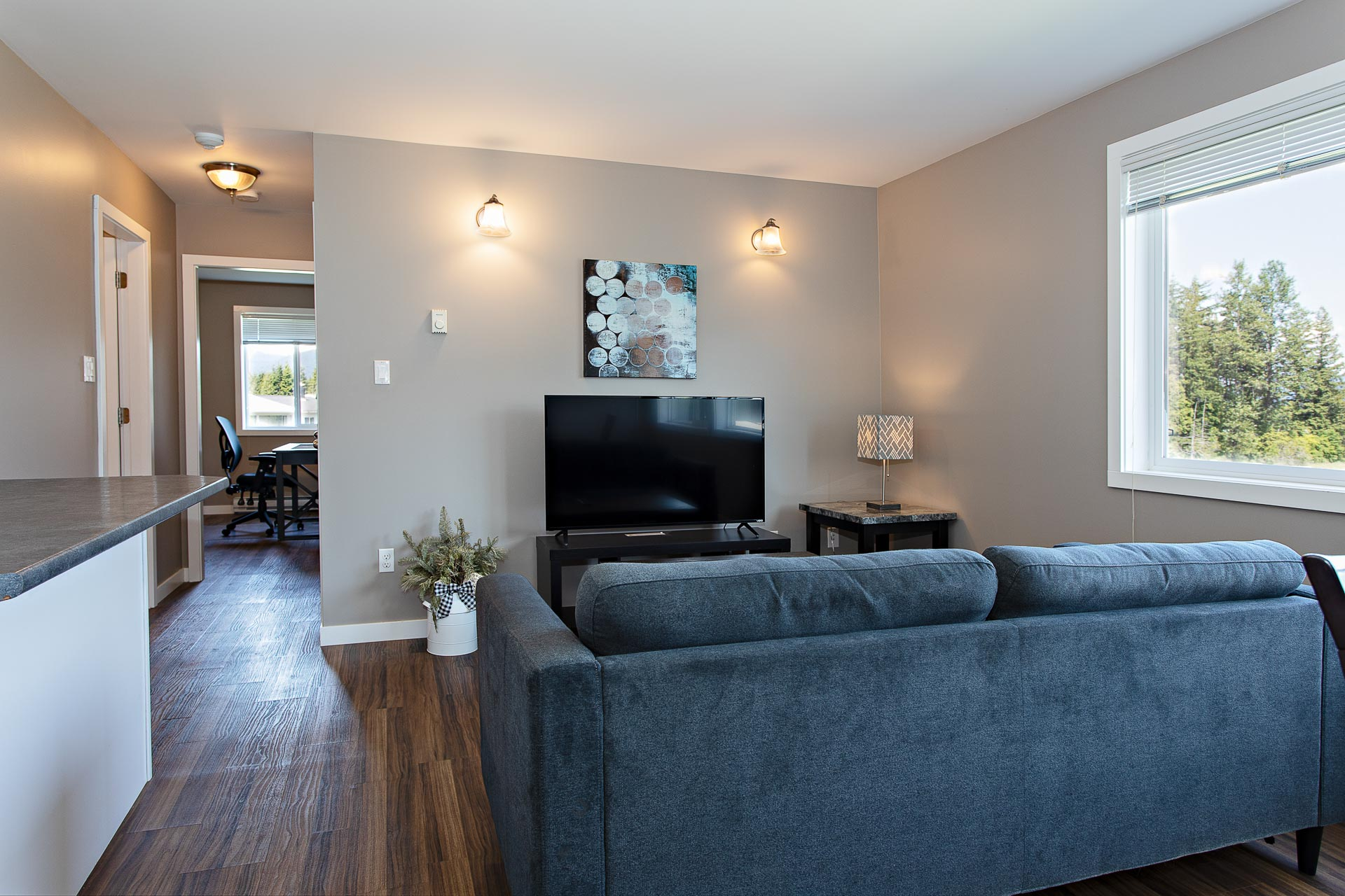 Furnished living room at Hillcrest Place Apartments in Kitimat, B.C.
