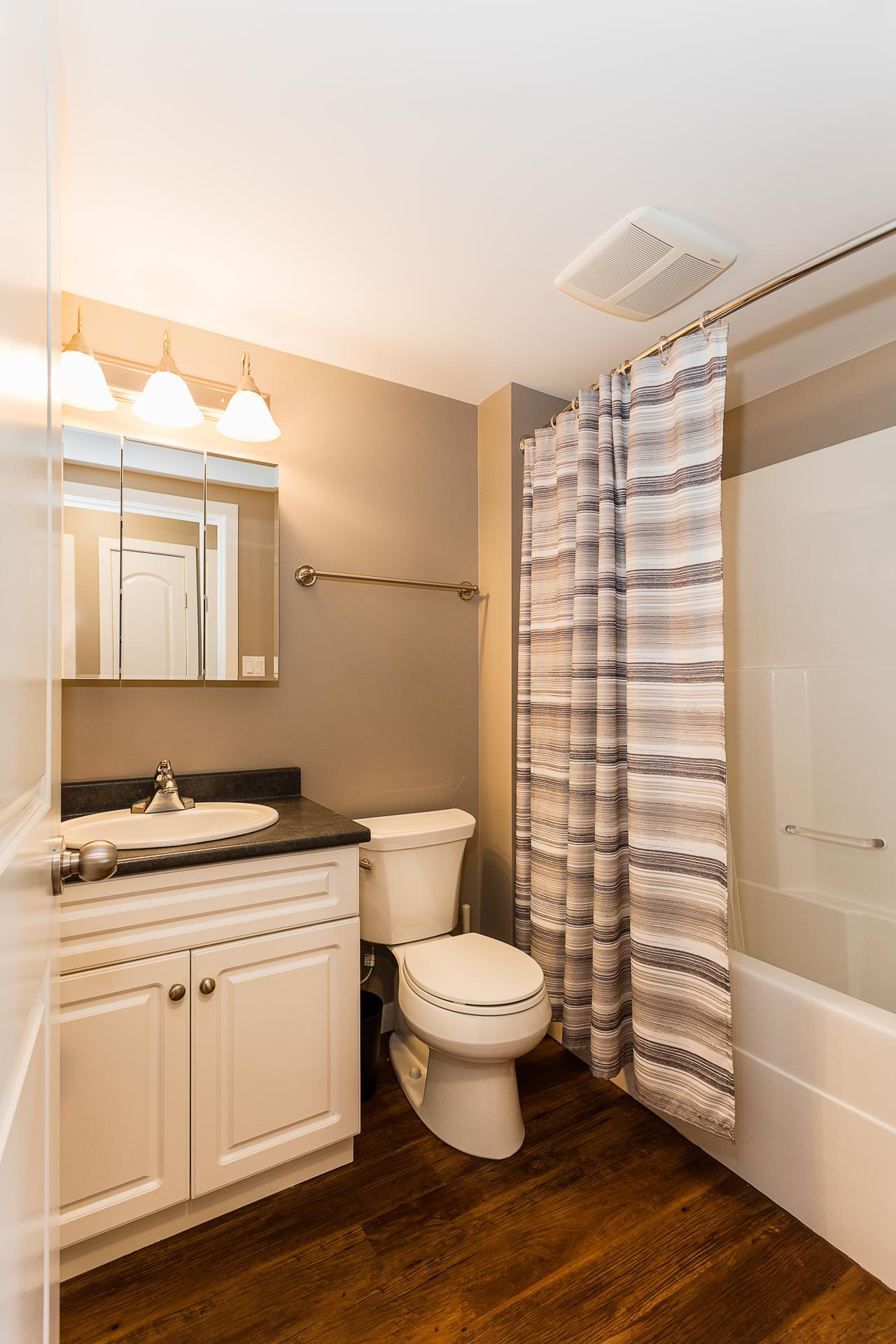 Furnished bathroom at Hillcrest Place Apartments in Kitimat, B.C.