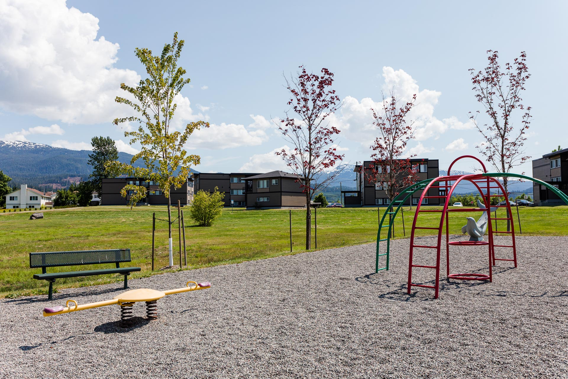 The park near Hillcrest Place Apartments in Kitimat, B.C., with the apartments in the background.