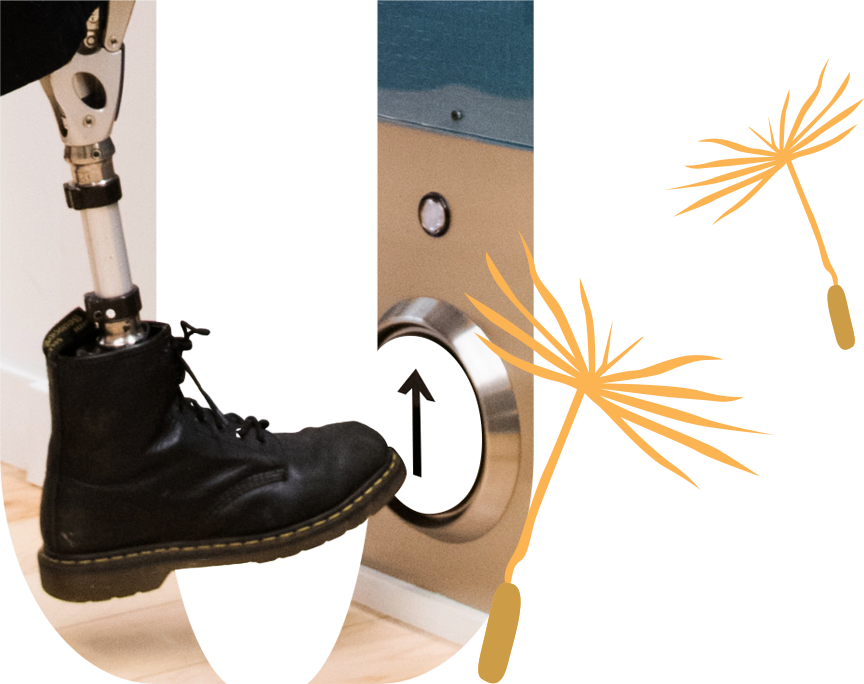 A prosthetic leg kicking an elevator floor button. In u shape with dandelion spores floating.