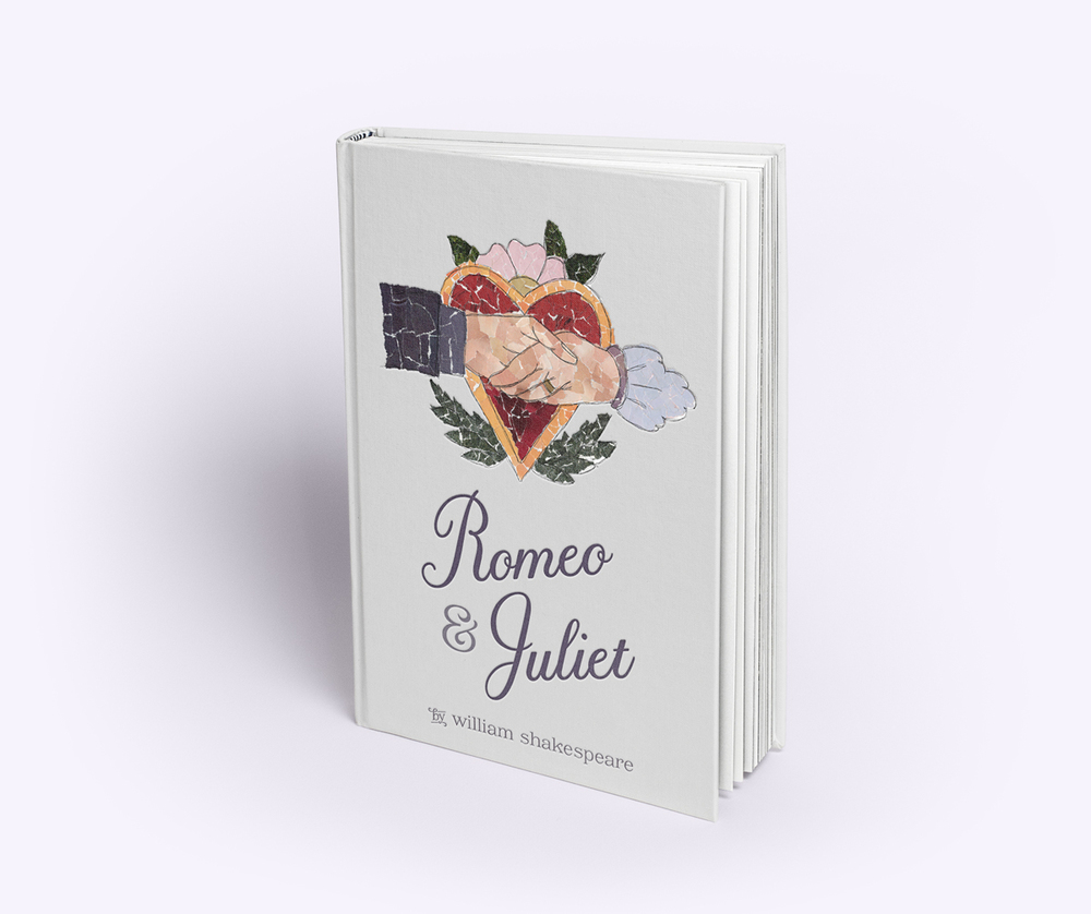 A book cover of Romeo and Juliet, featuring hands shaking on top of a heart, created using collaged sections of magazines.