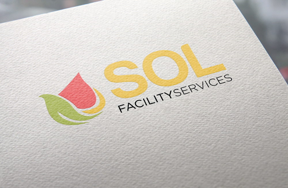 Logo for SOL Facility Services, made up of three natural shapes.