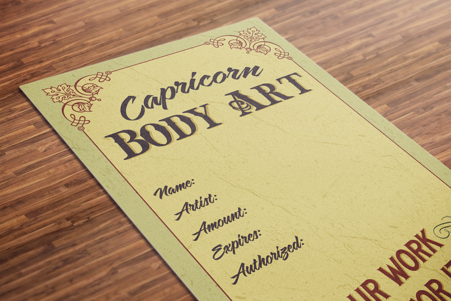 A vintage-style gift voucher for Capricorn Body Art, with the words 'our work speaks for itself'.