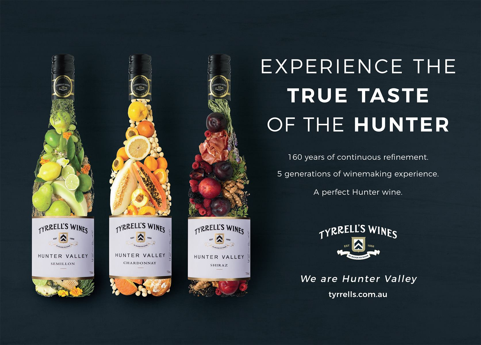 A series of fruits arranged in the shape of a three wine bottles, indicating each bottle's flavour profile, with accompanying text 'Experience the true taste of the hunter'