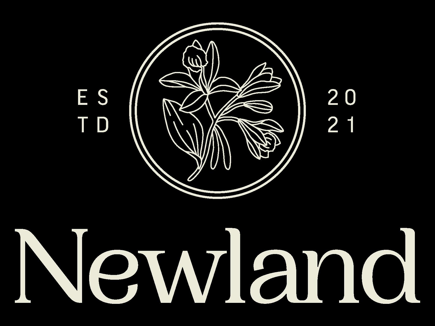 Newland Logo featuring a vanilla flower and Newland type underneath