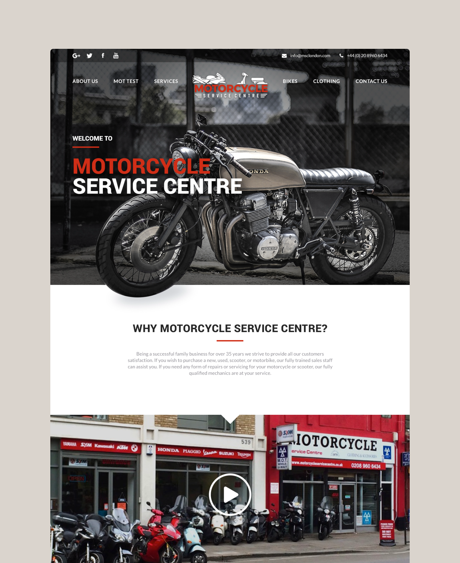 Motorcycle Service Centre Home Page