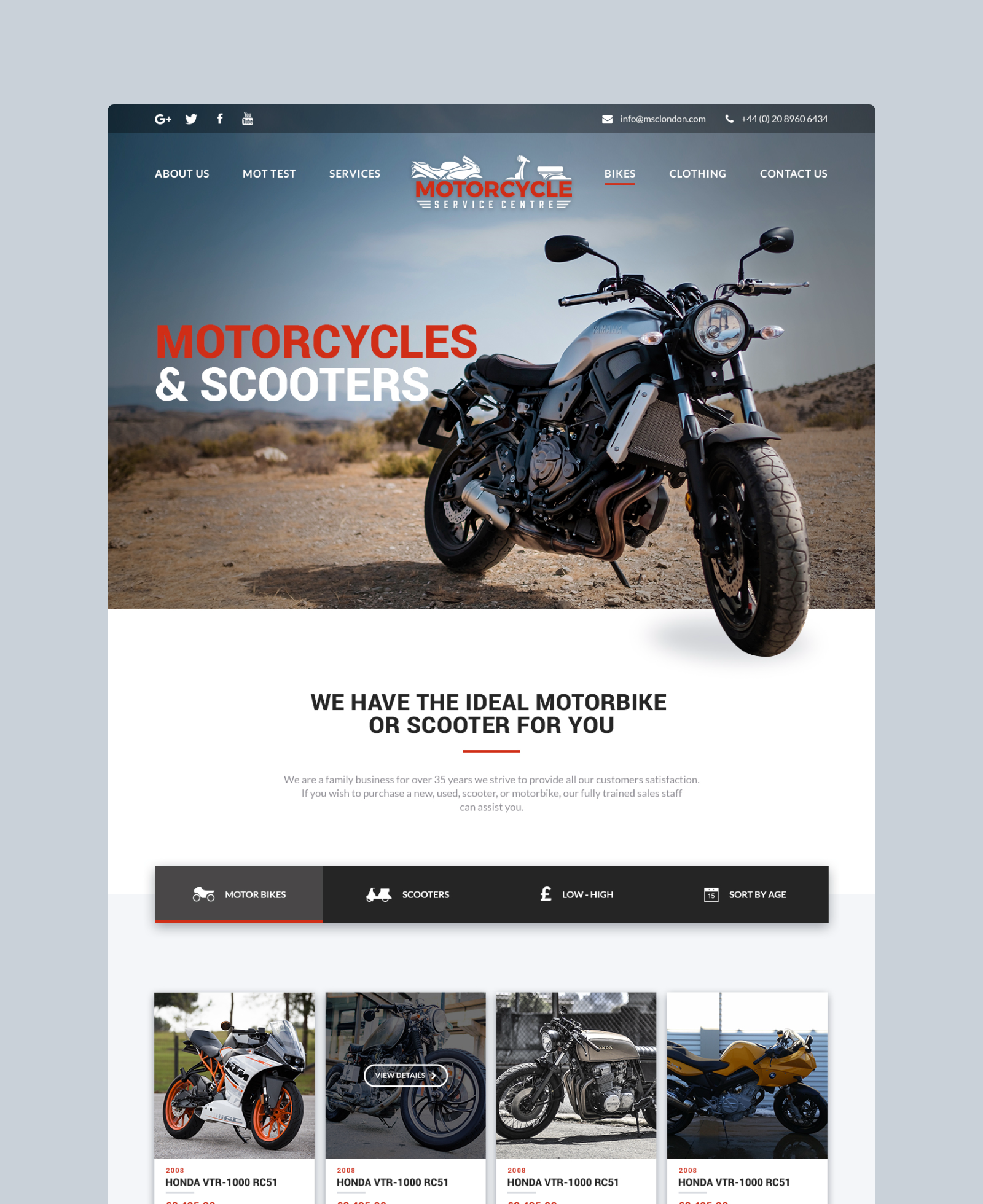 Motorcycle Service Centre Sales Page