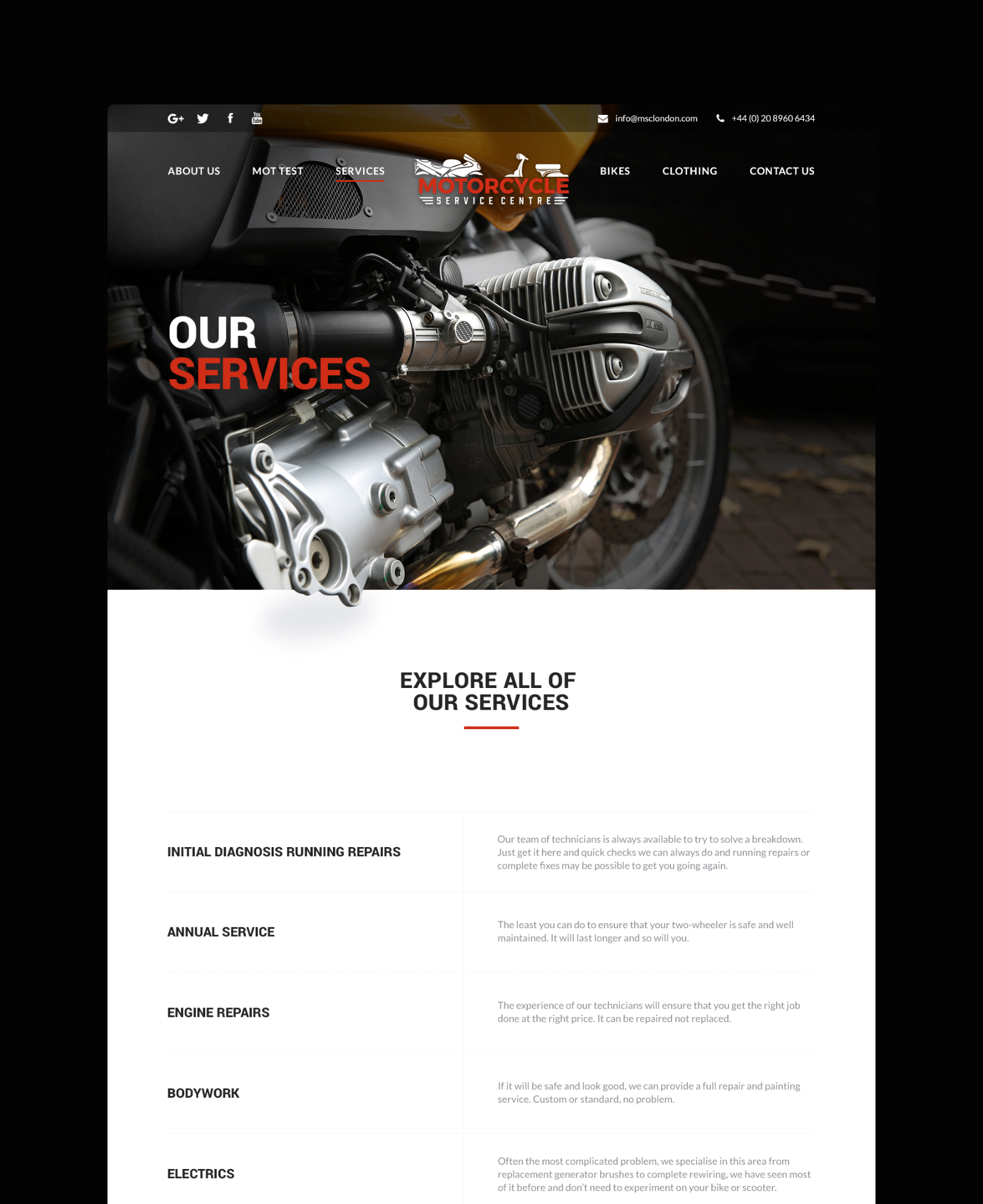 Motorcycle Service Centre Servicing Page