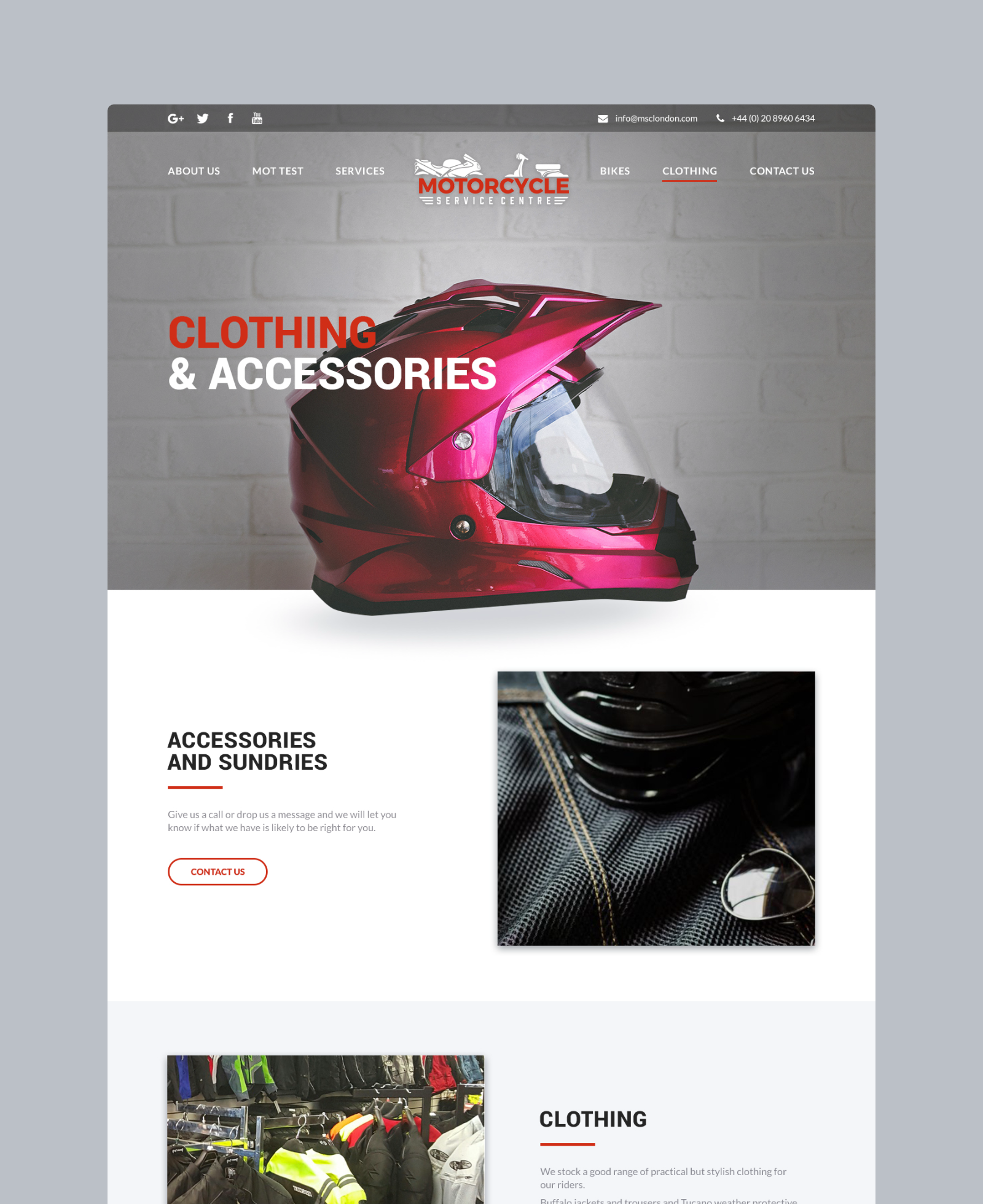 Motorcycle Service Centre Accessories Page