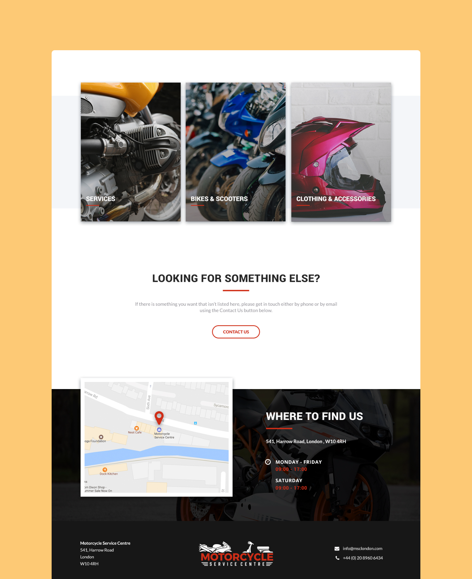 Motorcycle Service Centre Footer Design