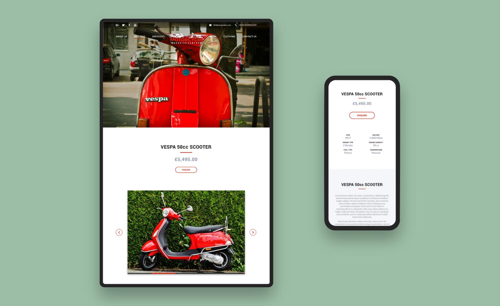 Motorcycle Service Centre Responsive Designs