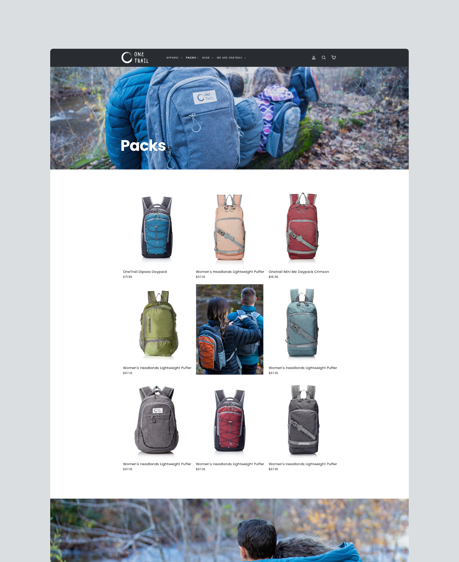 One Trail Gear Product Collections Page