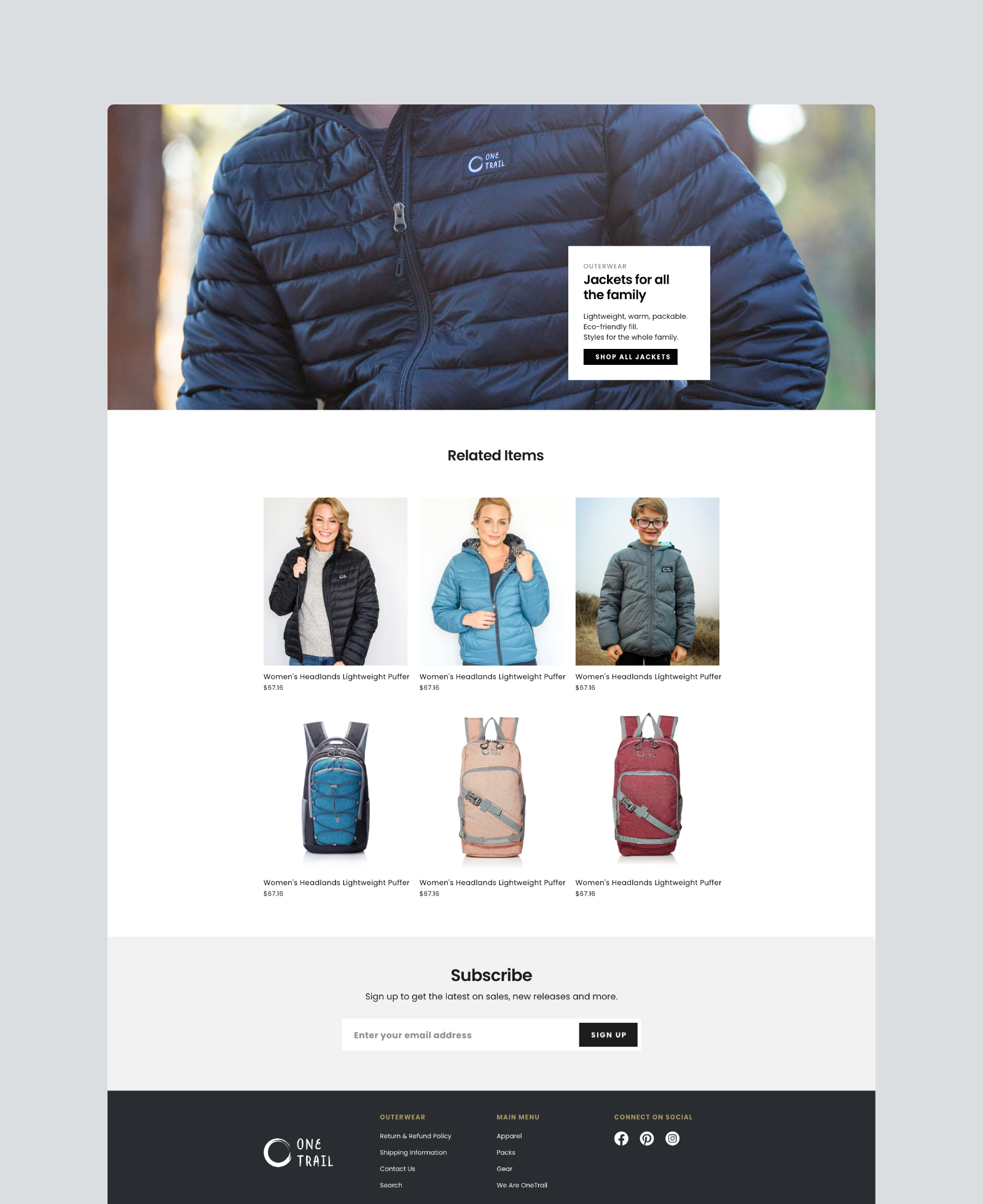 One Trail Gear Product Page