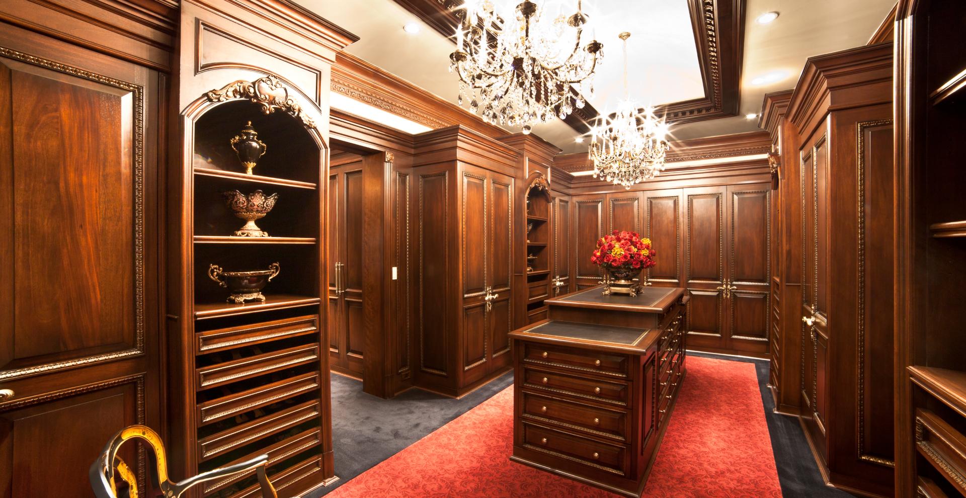 Light mahogany stained closet in NJ.