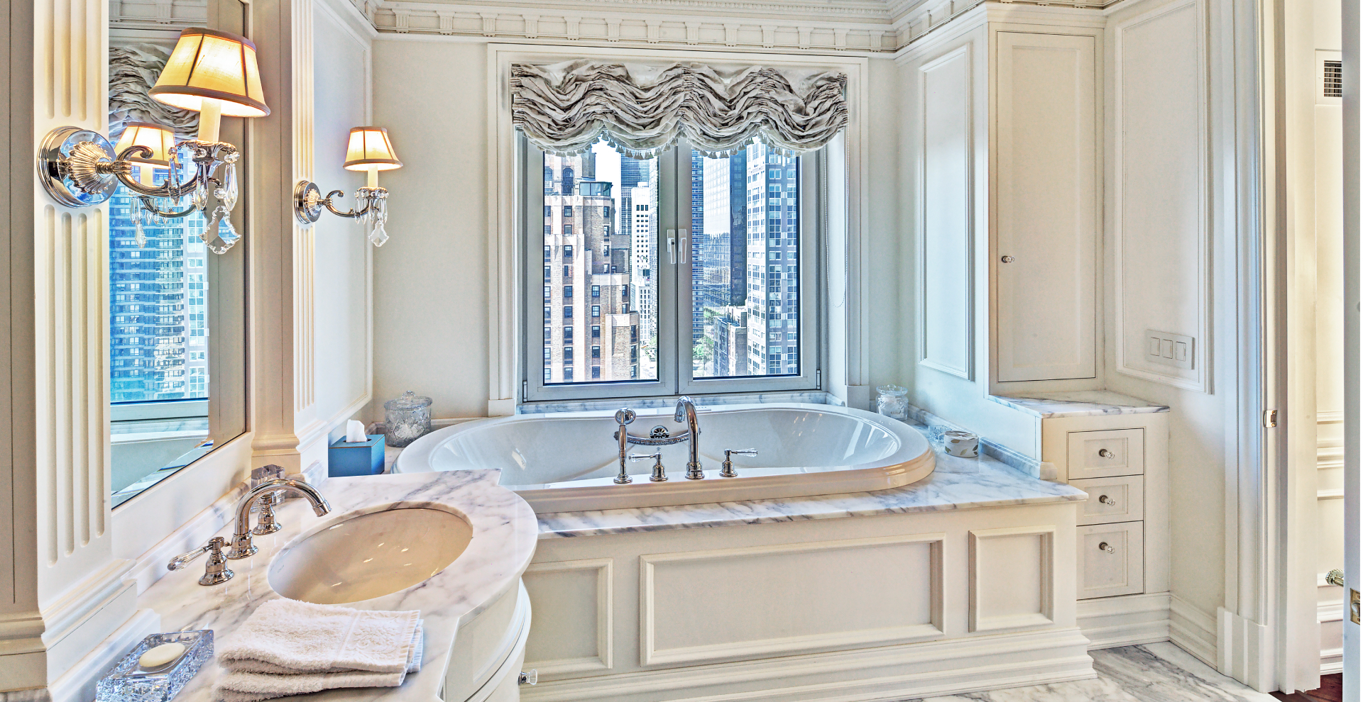 Transitional bathroom in Manhattan