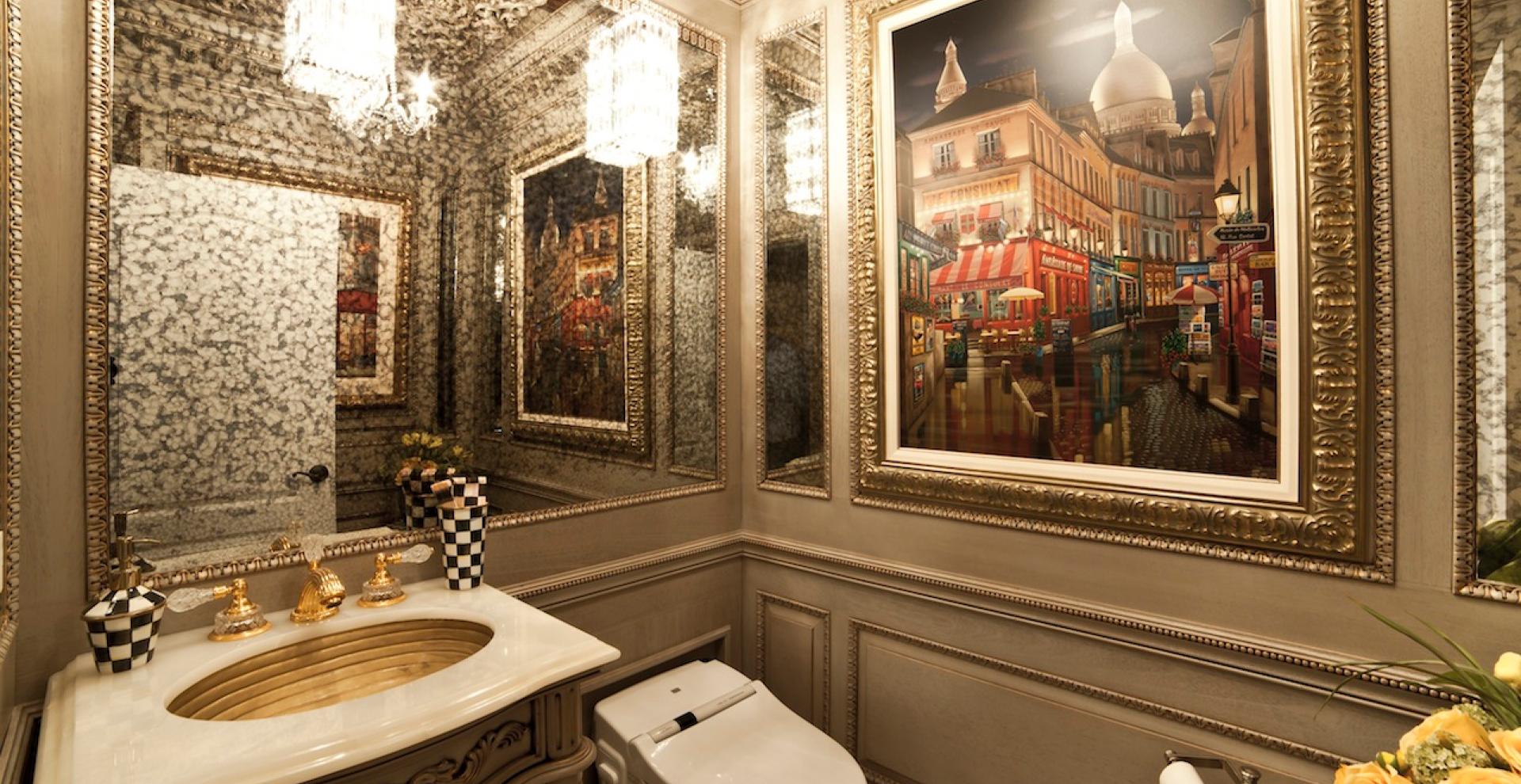 Elegantly hand carved custom bathroom in NJ