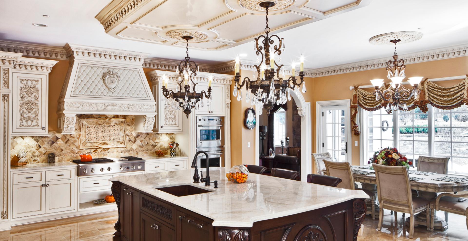 French inspired white patina kitchen, NJ