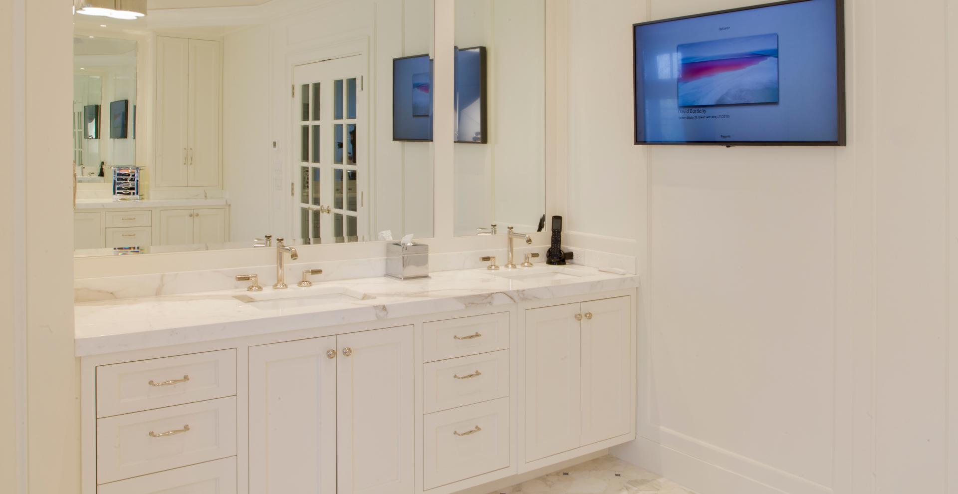Sleek custom white vanities Allendale, NJ.