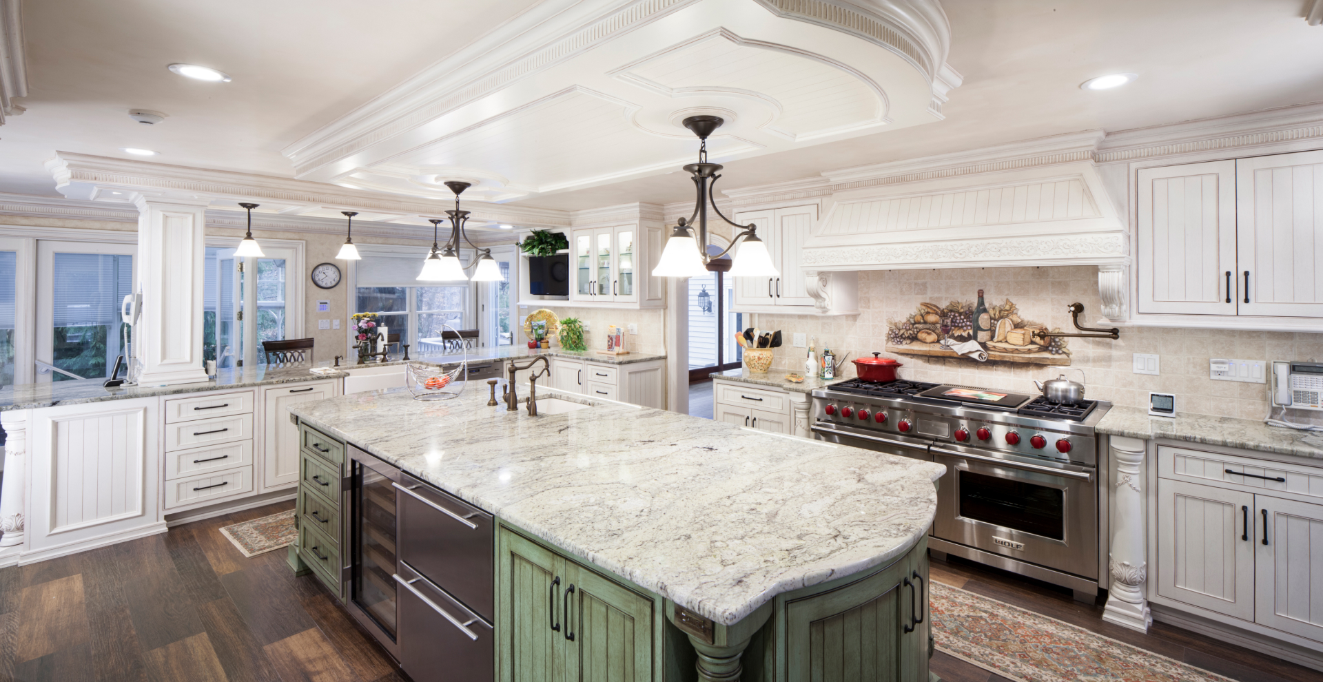 Classically inspired white stained kitchen Pine Brook, NJ