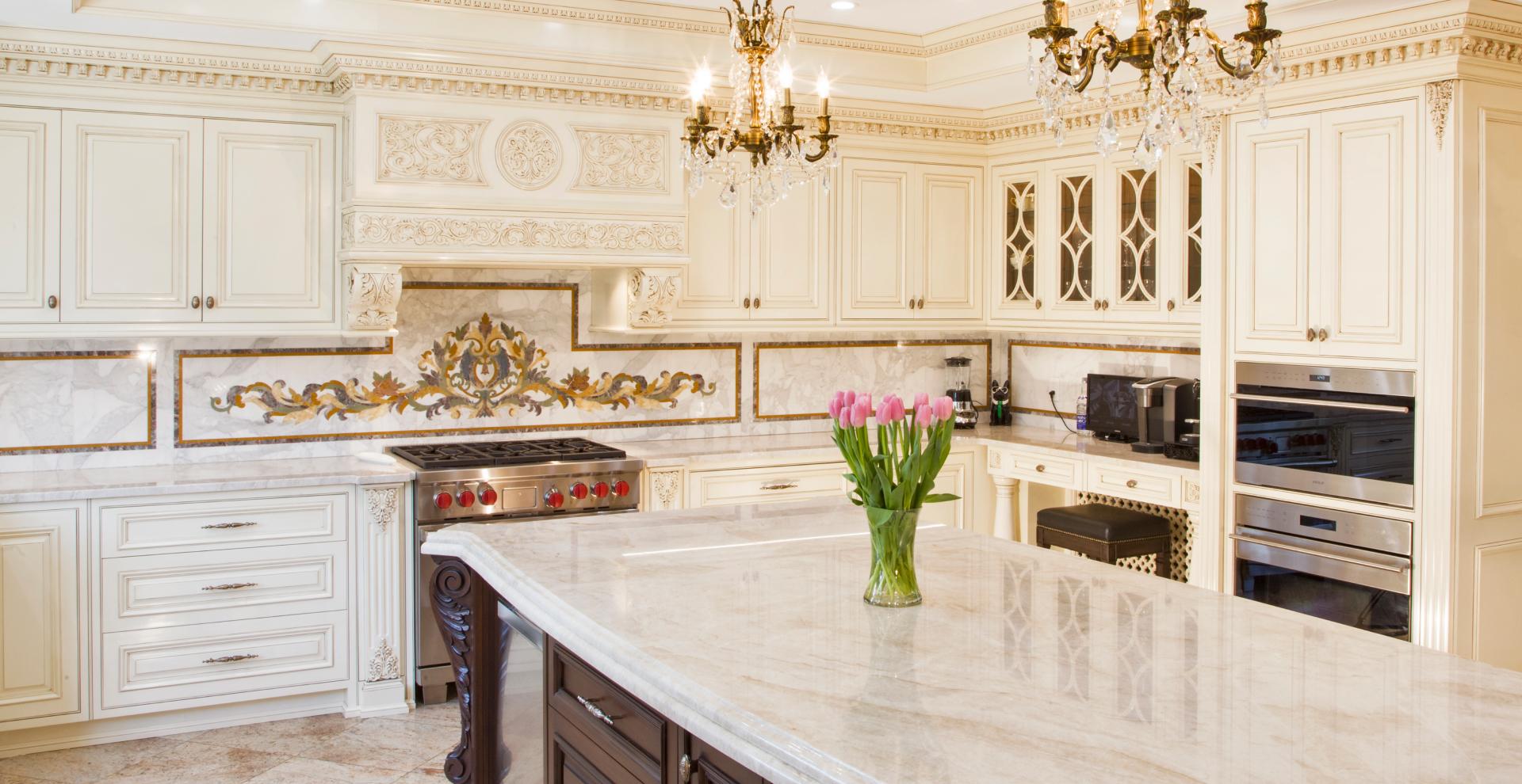 Traditional white patina kitchen Whitestone, NY