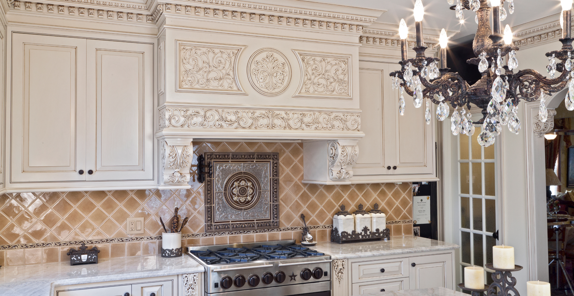 Traditional white patina kitchen, NJ