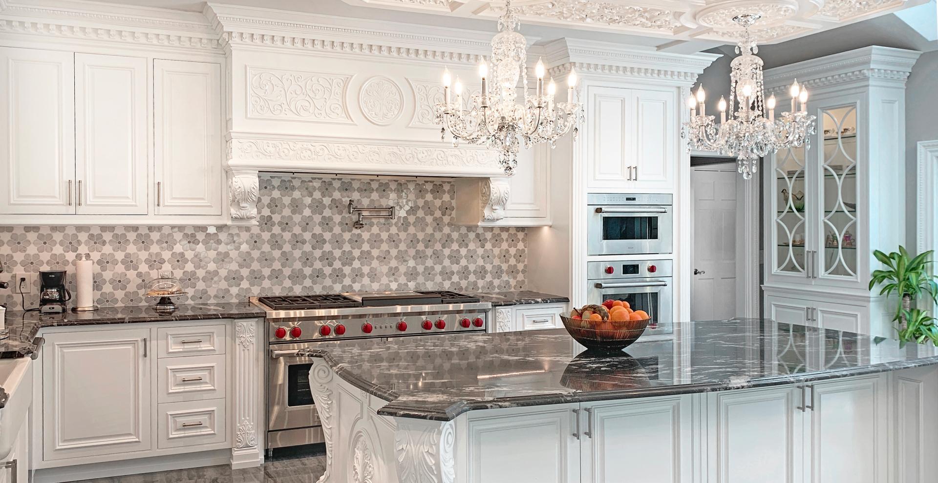 Italian inspired white kitchen, NJ