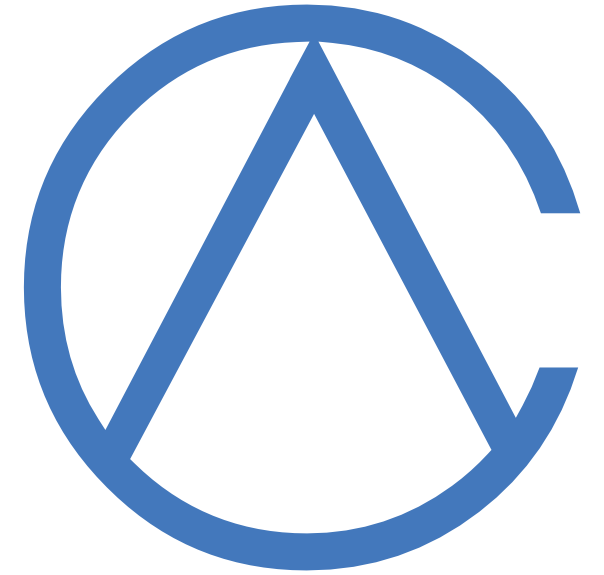 The charityAPI logo. Circle with an inverted V inscribed.