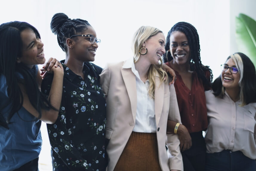 Diverse group of woman happy
