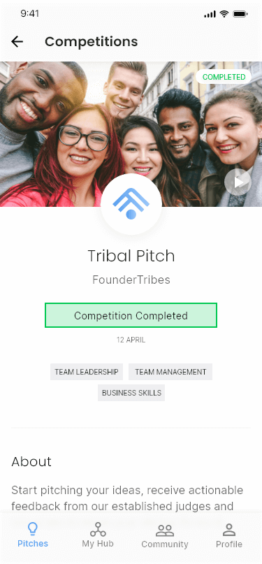 Competitions screen for FounderTribes