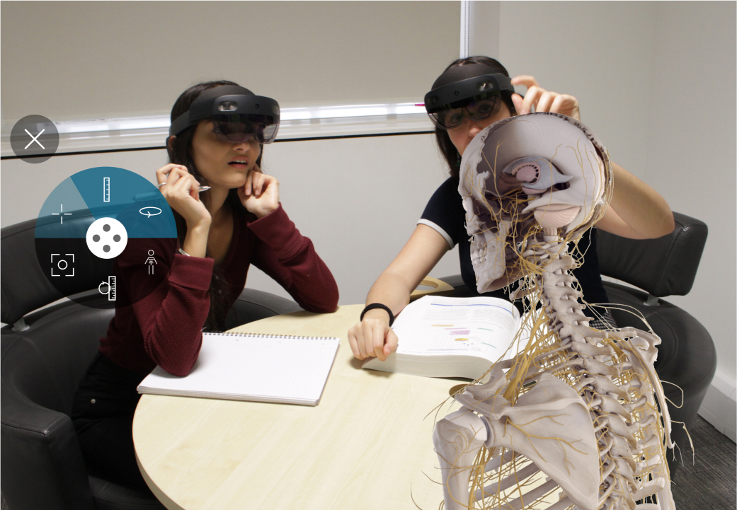 Students using AR to learn about the human skeletal system