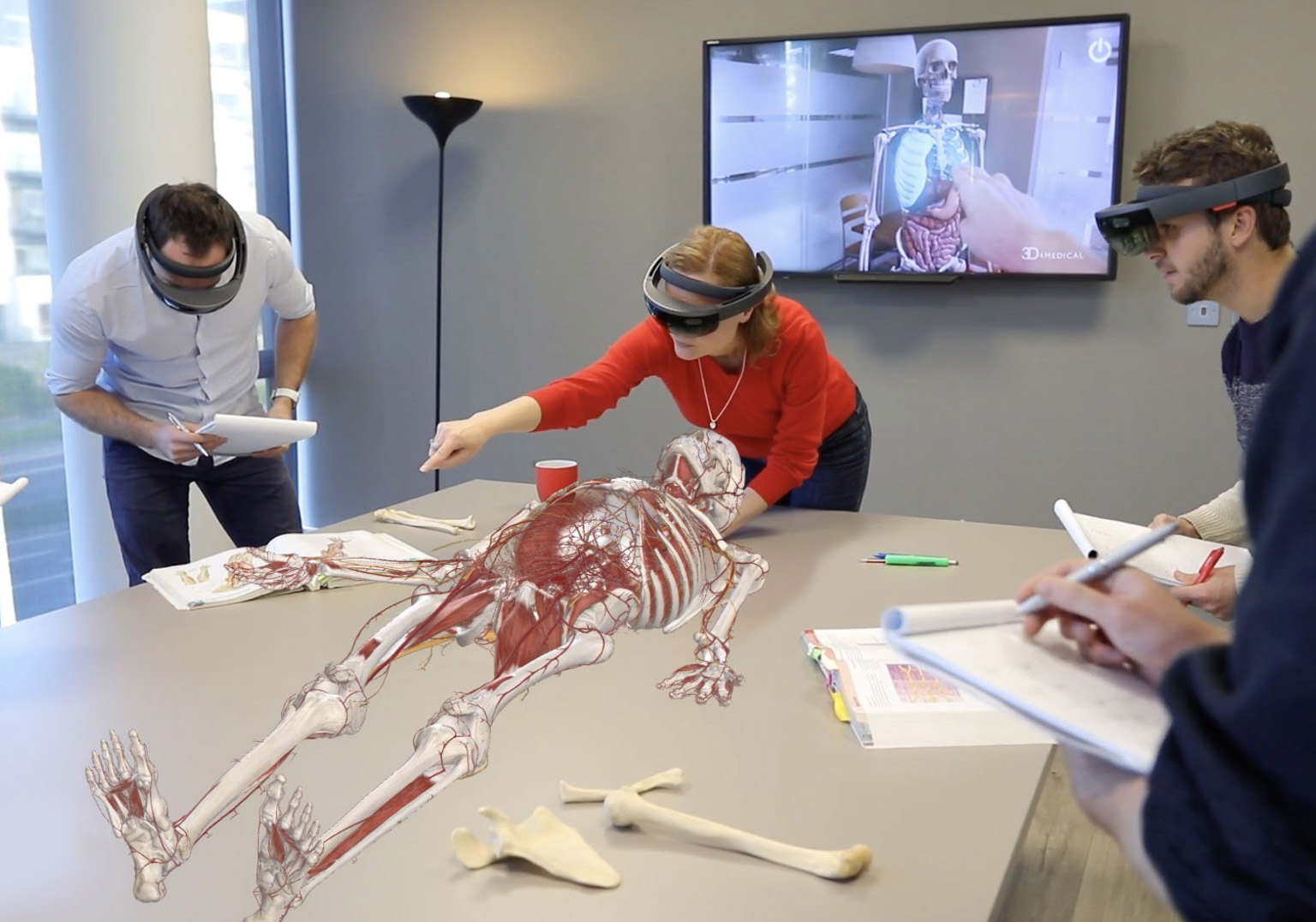 Researchers using AR to study the human skeletal system