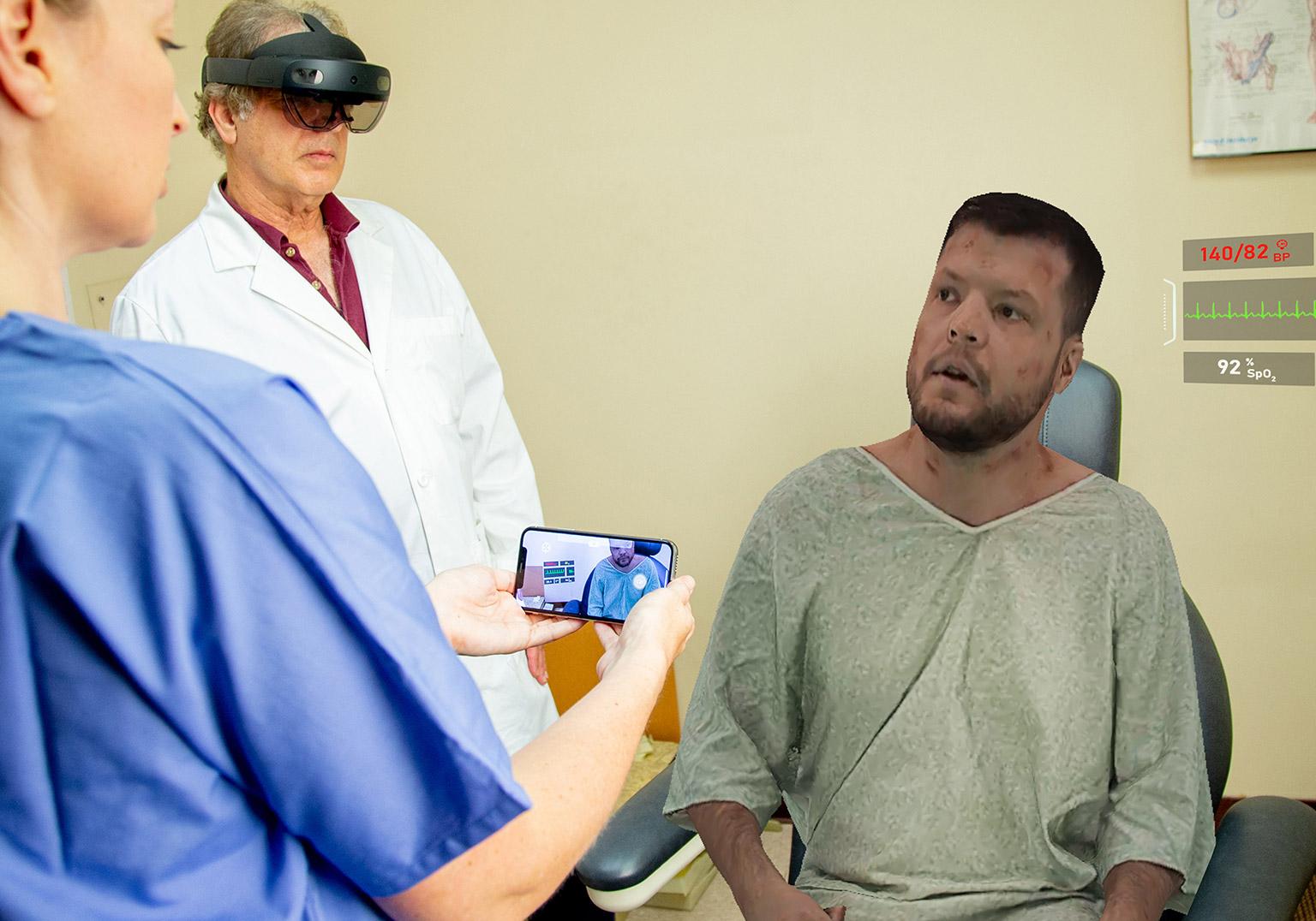 Medical professionals using AR to explore real life scenerios