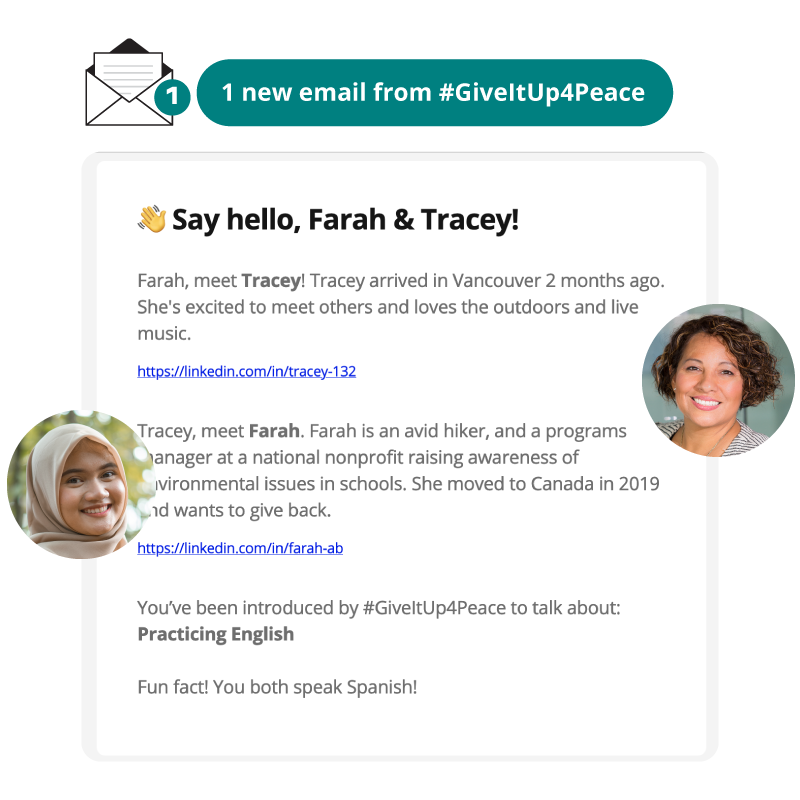 #GiveItUp4Peace Email