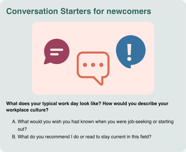 Conversation card: Conversation starters for newcomers