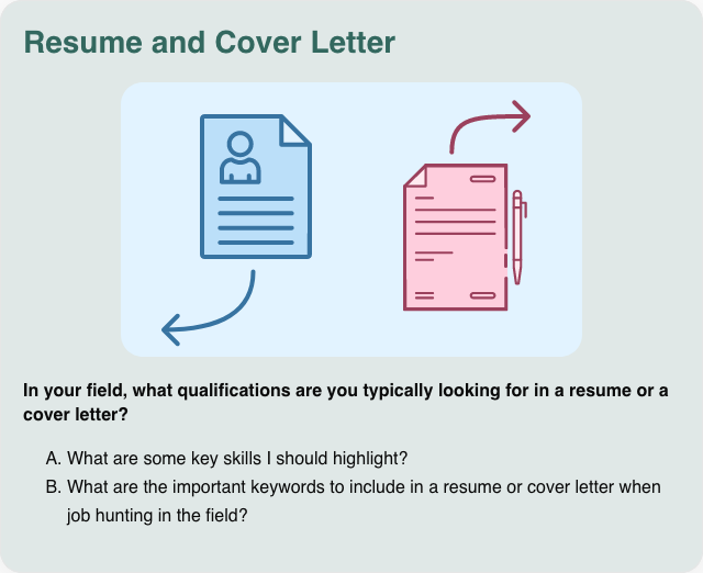 Conversation card: Resume and cover letter