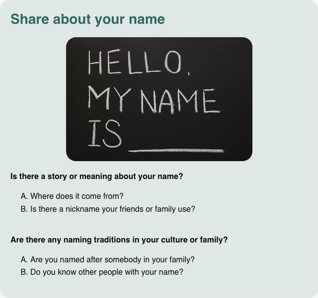 Conversation card: Share about your name