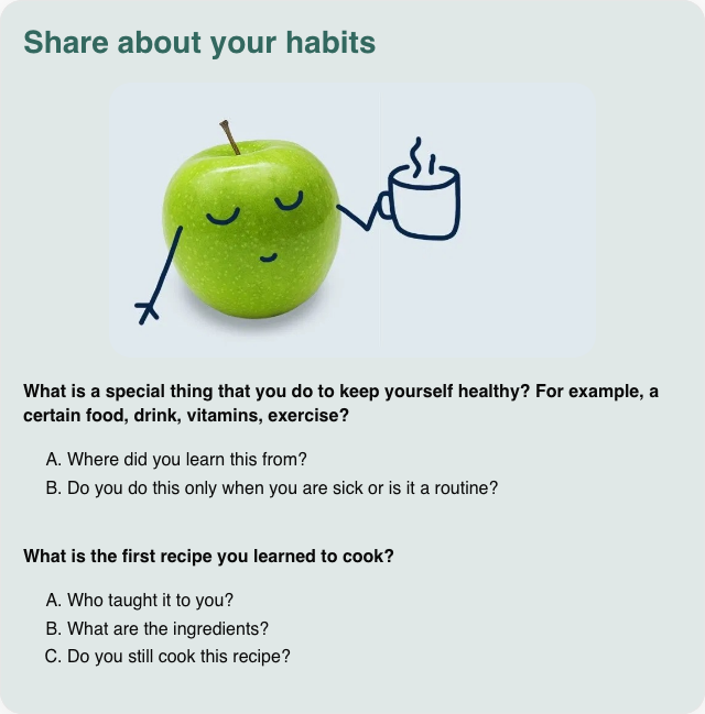 Conversation card: Share about your habits