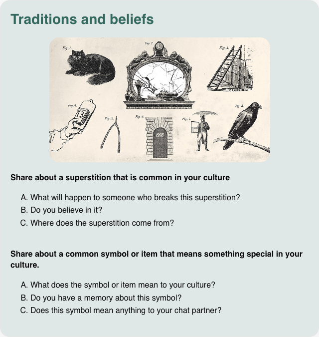 Conversation card: Share about traditions and beliefs