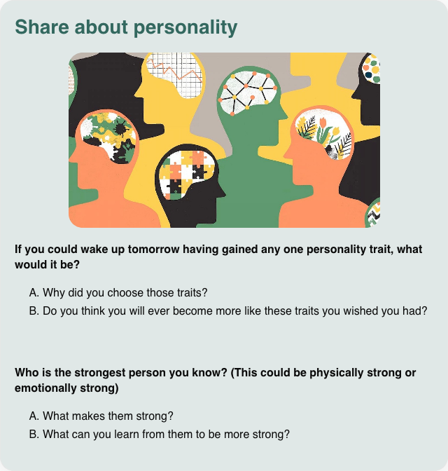 Conversation card: Share about personality