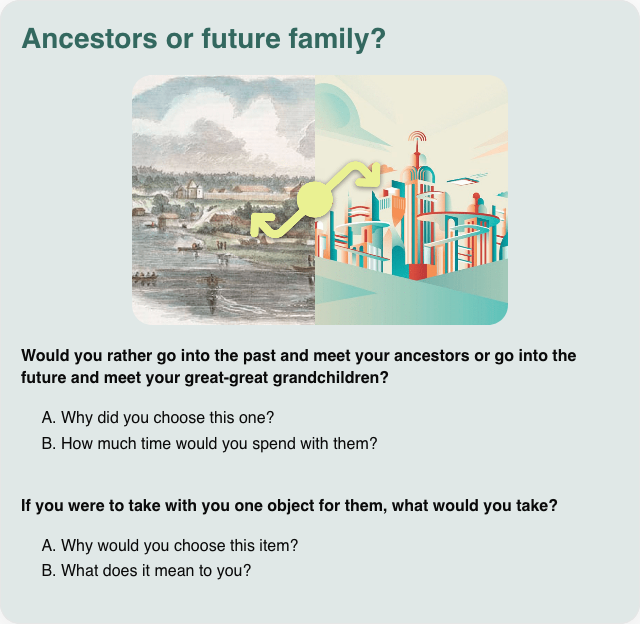 Conversation card: Ancestors or future family?