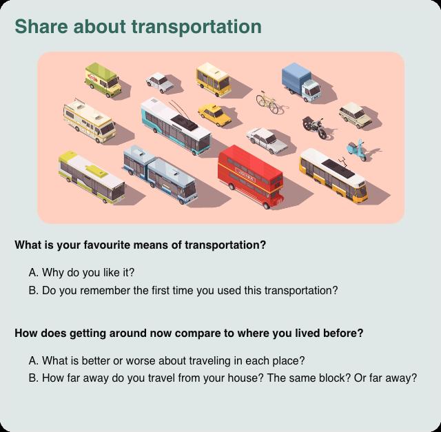 Conversation card: Share about transportation