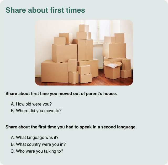 Conversation card: Share about first times