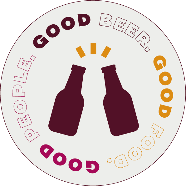 """Round sticker with an icon of two beer bottles cheering, saying """"Good Beer. Good Food. Good People""""."""
