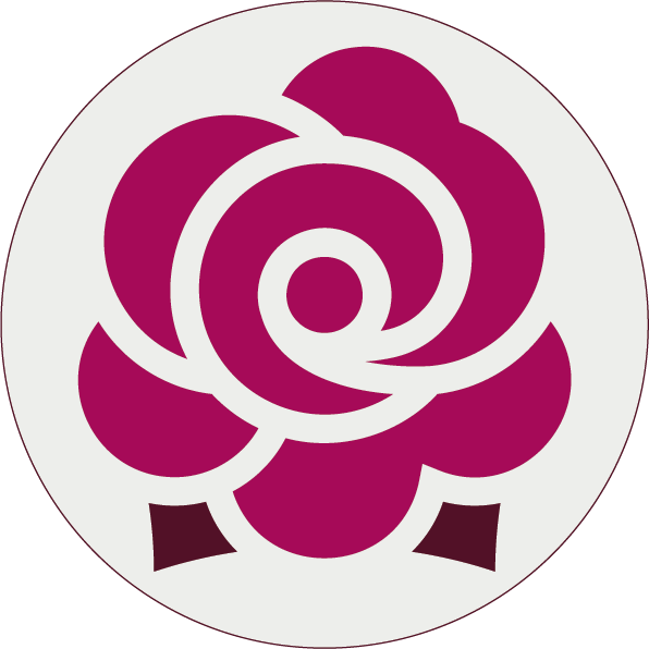 Round sticker with a rose icon, because the Rosemary Branch is also called The Rosie.