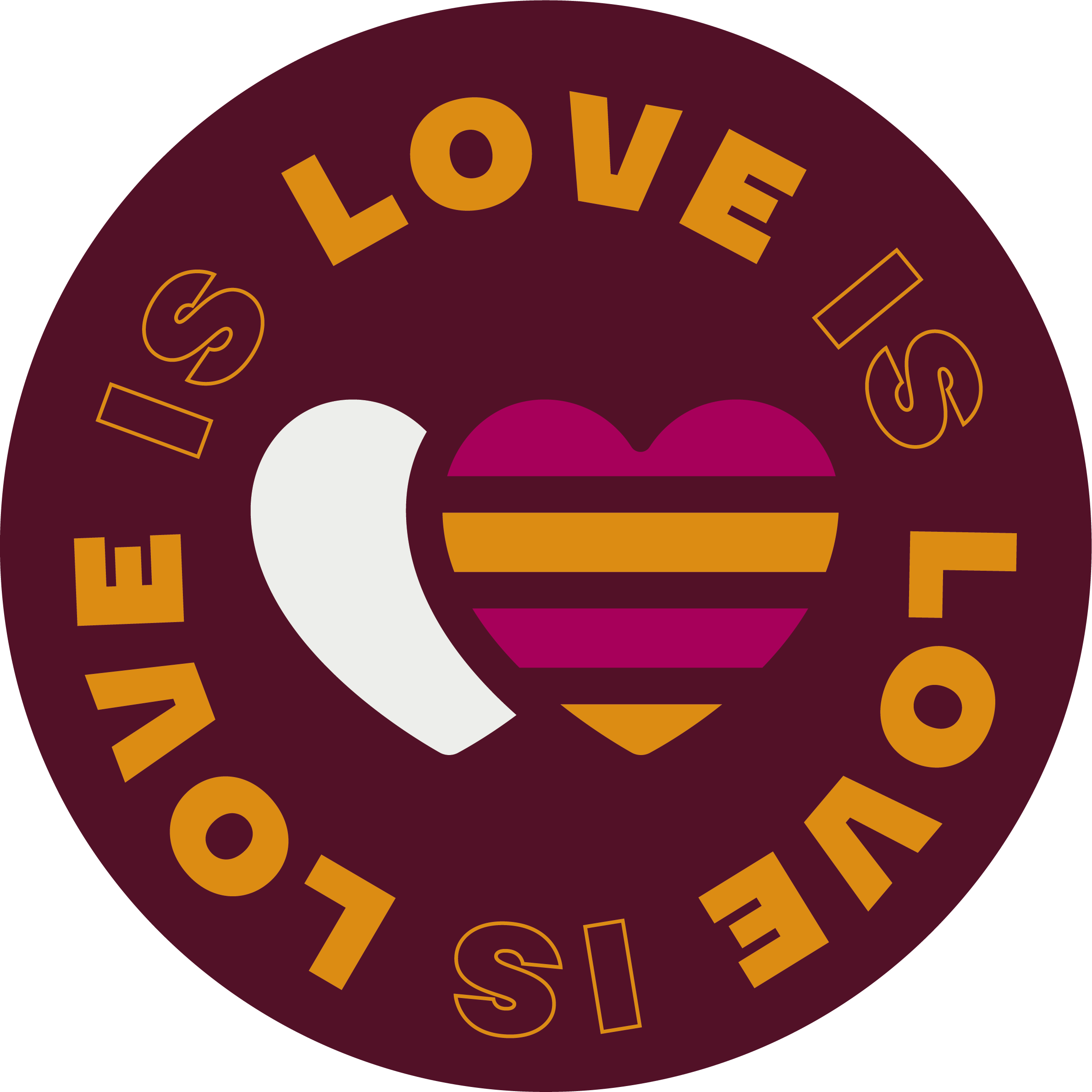 """Round sticker with an icon of two hearts, saying """"Love is Love""""."""