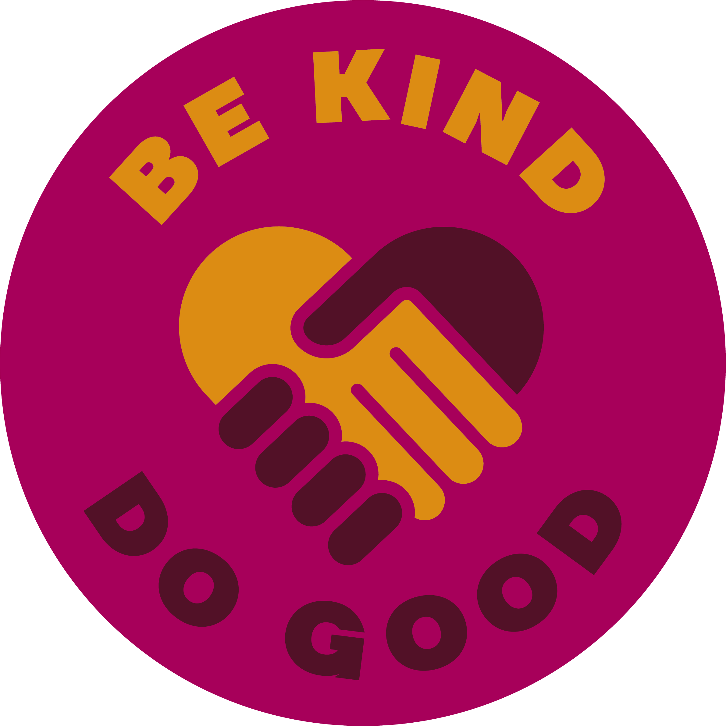 """Round sticker with an icon of two hand shaking, saying """"Be kind. Do good.""""."""